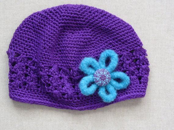 Hat with Felted Flower Purple and Turquoise by Blossomshkd on Etsy, $17.00