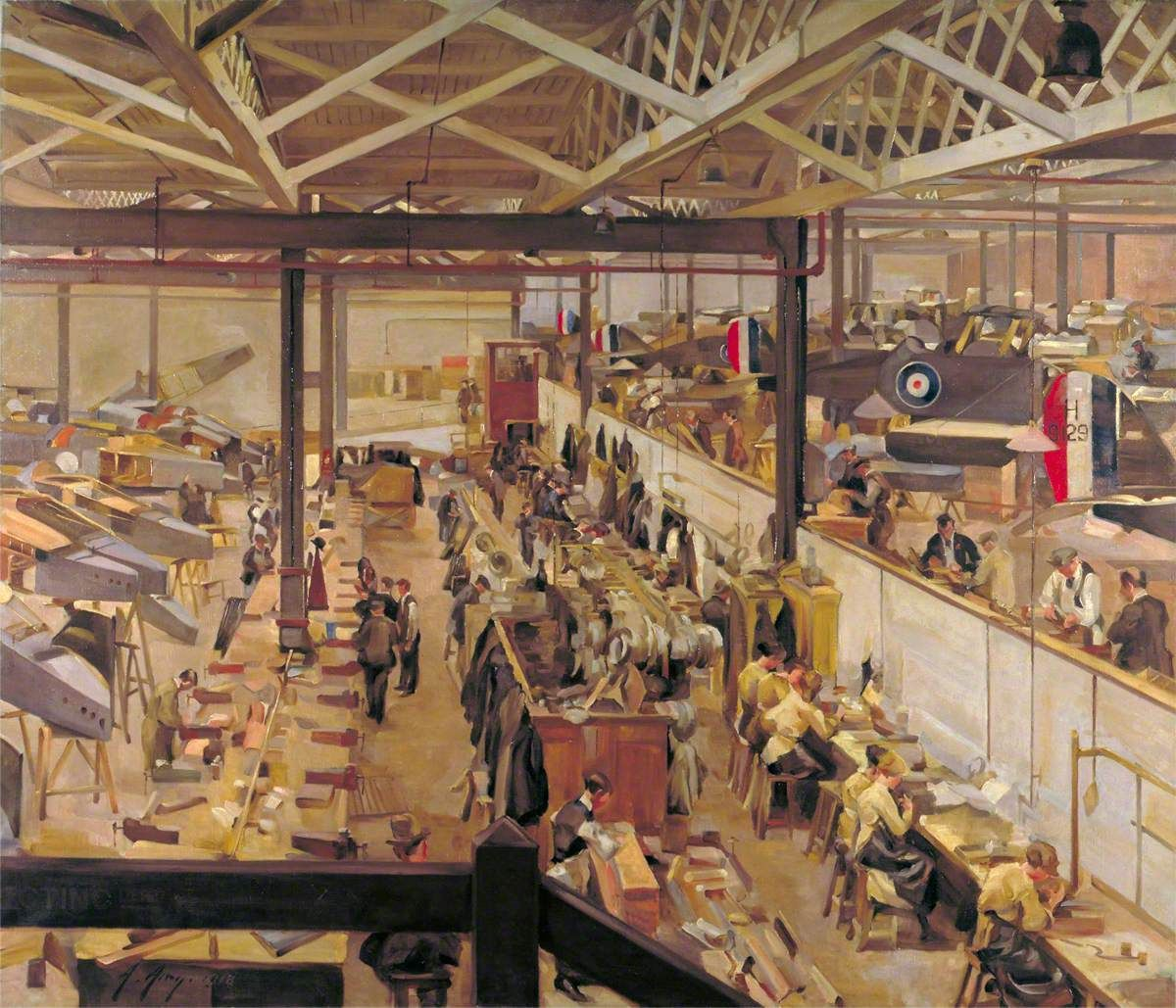 An Aircraft Assembly Shop, Hendon by Anna Airey  Date 1918  Medium oil on canvas  Measurements 182.8 x 213.3 cm  Accession number IWM ART 1931  Acquisition method commissioned, acquired, 1919    Date 1918  Medium oil on canvas  Measurements 182.8 x 213.3 cm  Accession number IWM ART 1931  Acquisition method commissioned, acquired, 1919