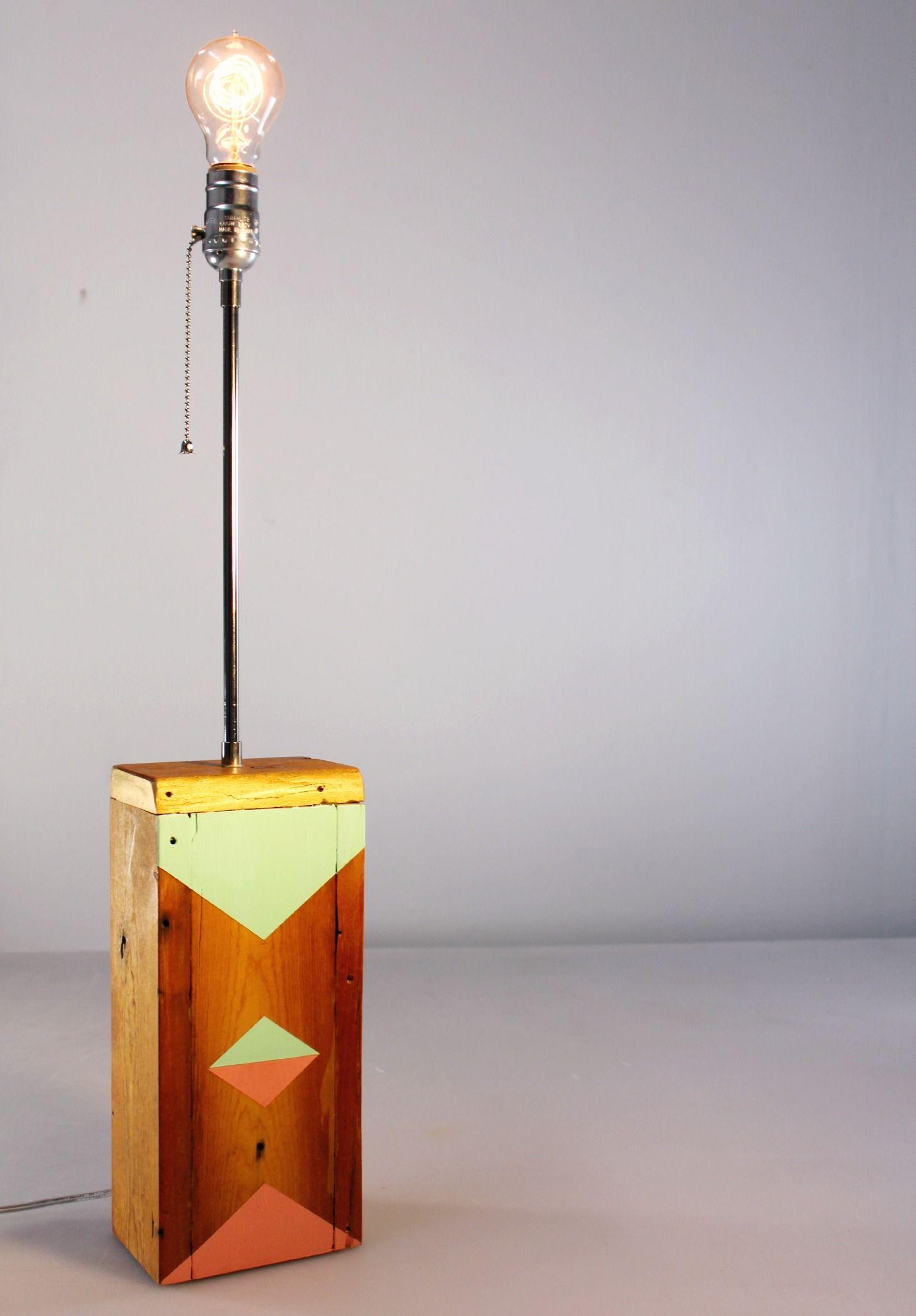 geometric painted wooden lamp base diy table lamp ideas rh pinterest de