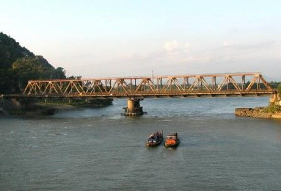 Han Rong Bridge over Ma River, Thanh Hoa, Vietnam.  This bridge was reconstructed after heavy bombing by US Air Force during Vietnam  War.