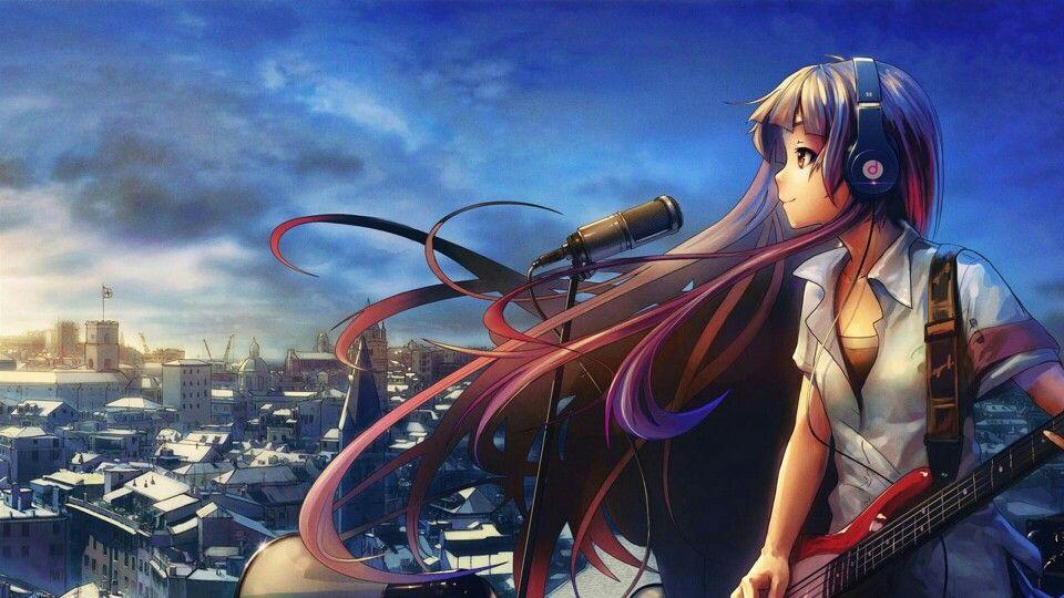 Wallpaper anime chica Música anime, Fondo de pantalla de