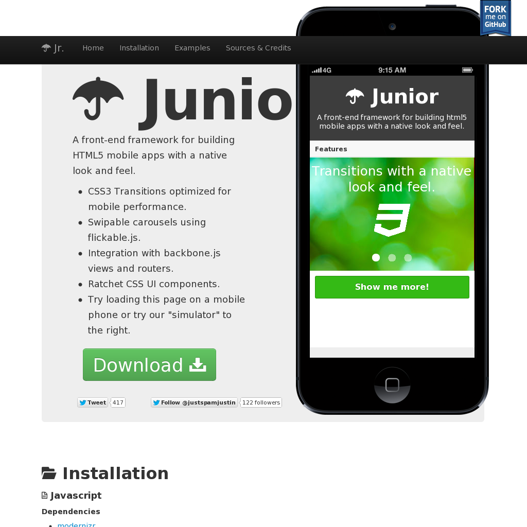 Junior / A frontend framework for building HTML5 mobile