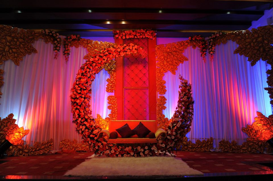 Moon and roses inspired wedding stage decorations stage for Background stage decoration