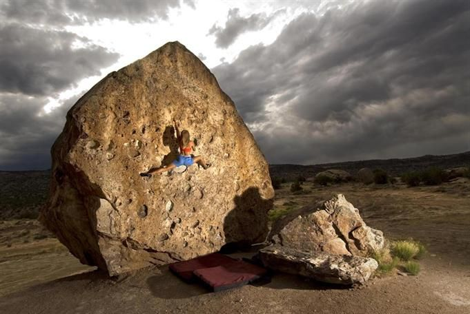 Jessa Younker on the Fossil boulder, Unaweep Canyon, Colorado.