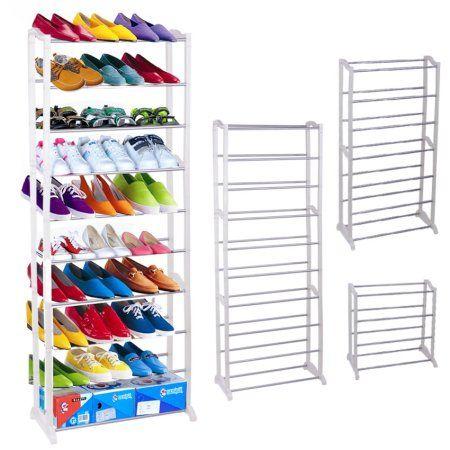 30 Pair Tower Shoe Rack 10 Tier Shoe Storage Shelf Organizer Free Stand White Walmart Co Space Saving Shoe Rack Shoe Storage Rack Storage Closet Organization
