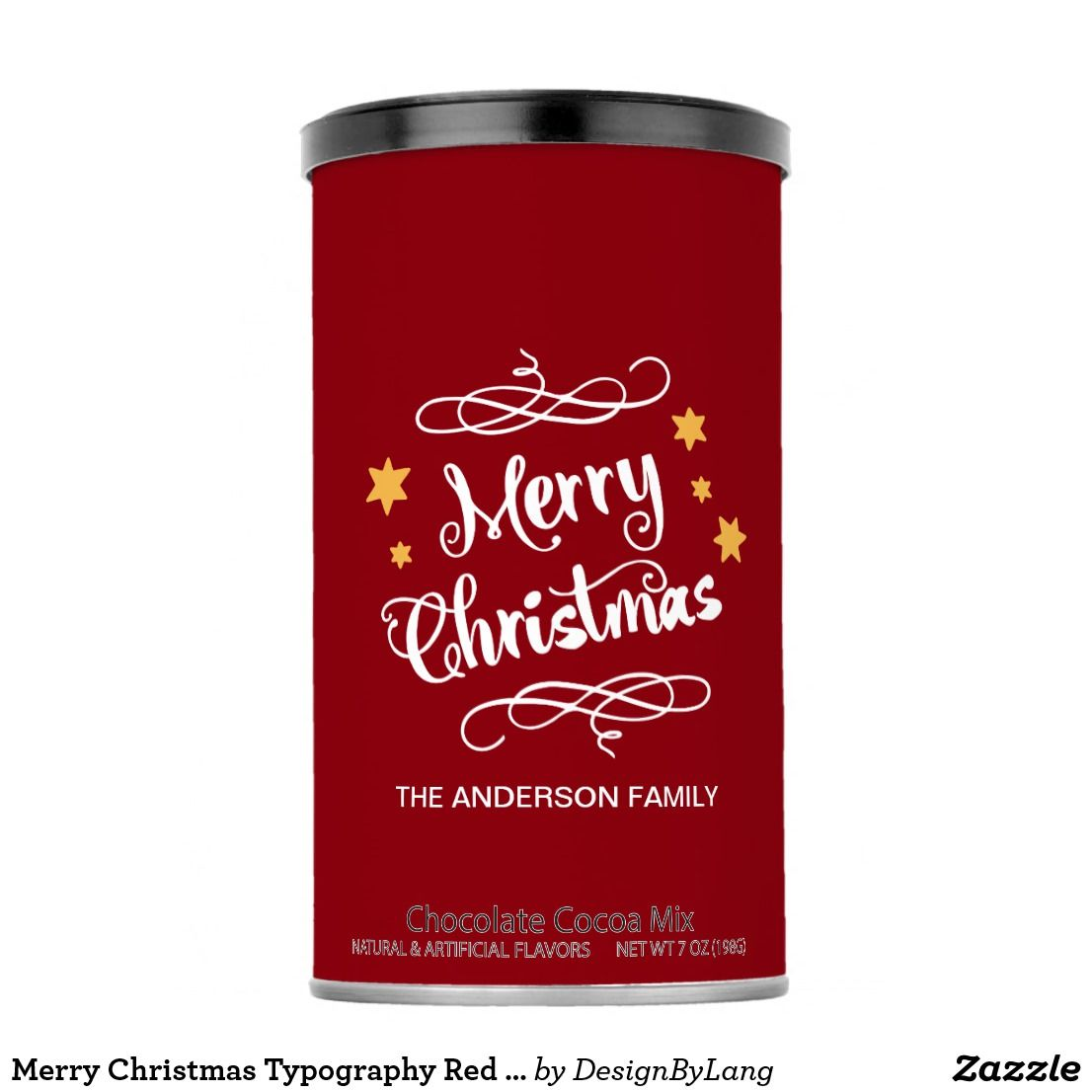 Merry Christmas Typography Red White Hot Chocolate Drink Mix Zazzle Com Merry Christmas Typography Christmas Typography Hot Chocolate Drinks