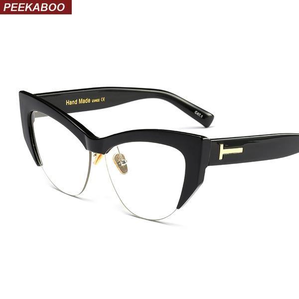 3abe1e8643 Peekaboo transparent cat eye glasses frames for women 2018 black leopard  beige semi rimless half rim eyeglasses frame women