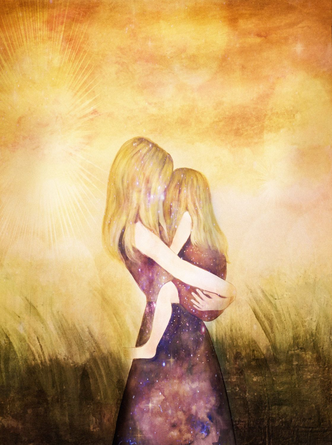 Mother and daughter their world blonde art print gift idea mothers day by claudiatremblay on etsy