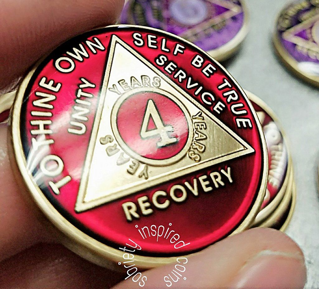 AA Coins for Sobriety, Ruby Red Jewel Color | Sobriety AA Coins