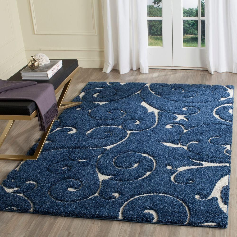 Safavieh Florida Dark Blue Cream 5 Ft 3 In X 7 6 Area Rug Sg455 6511 The Home Depot