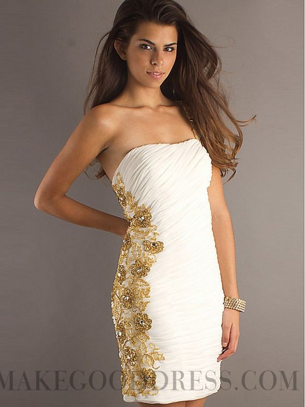 2015 Elegant Beading Sheath / Column Strapless Short / Mini Chiffon Cocktail Dresses