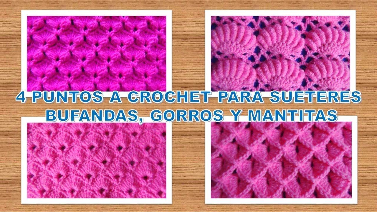4 Puntos tejidos a crochet paso a paso para suéteres, bufandas ...