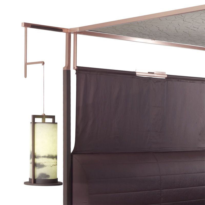 THEA bed with canopy and suspended lamps detail Furniture vendor in china email:derek@wonderwo.com. Web:www.wonderwo.cc