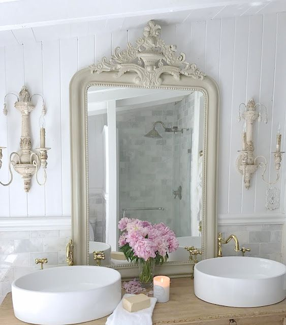 French Cottage Bathroom Vanity How to get the look details - Oh the