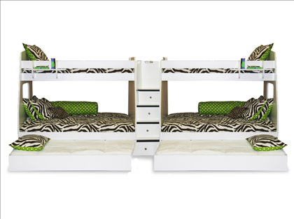 Berg Furniture Enterprise Dual Twin Over Full Bunk Beds With Trundles    Sleeps