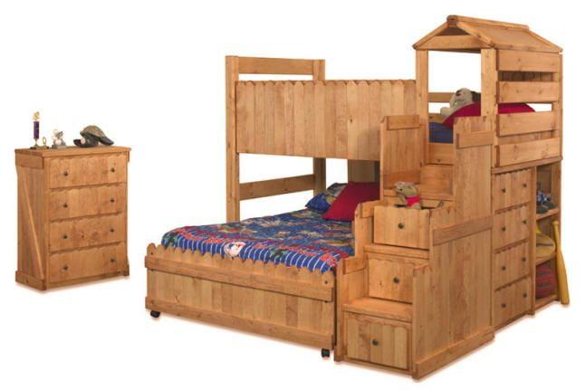 Camp Wildwood Twin Size Fort Stairway Loft Bed Cinnamon