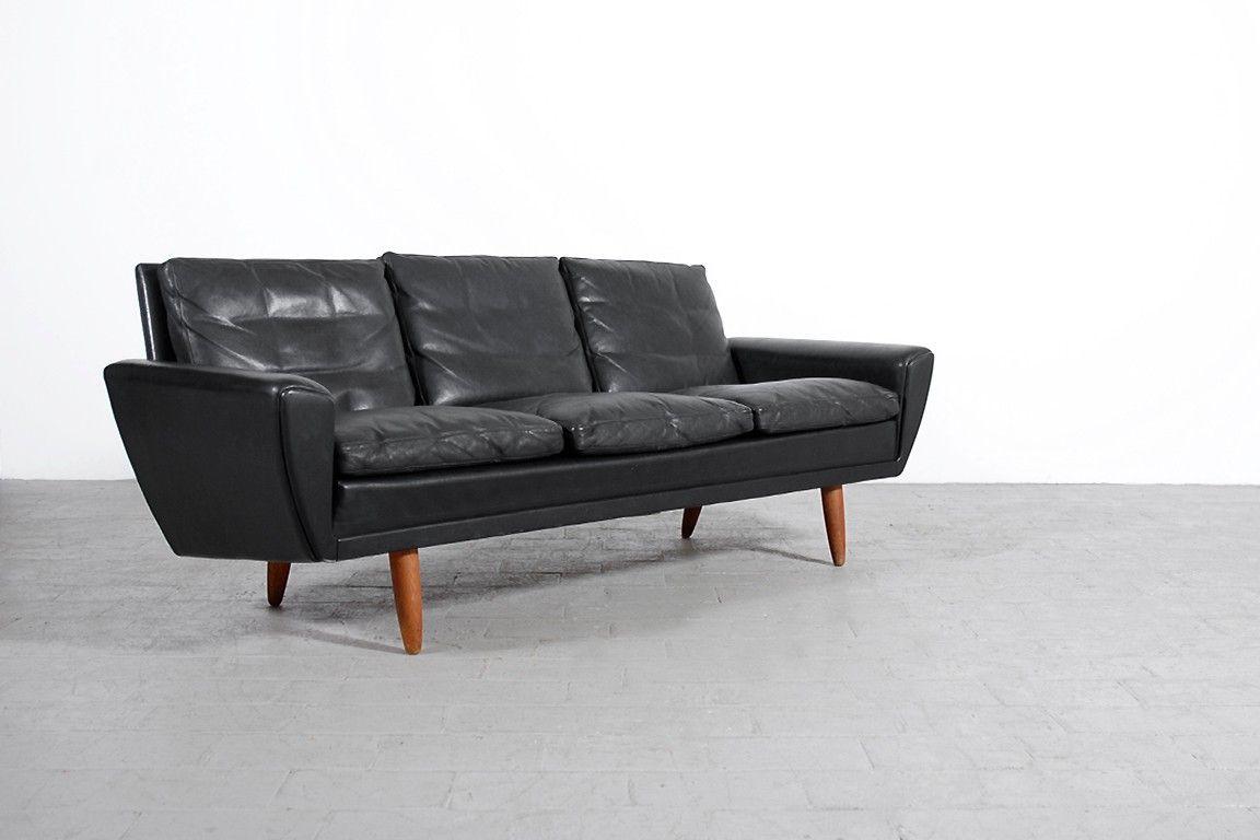CANAPÉ SCANDINAVE VINTAGE CUIR NOIR Jasper Salon - Canapé cuir noir design