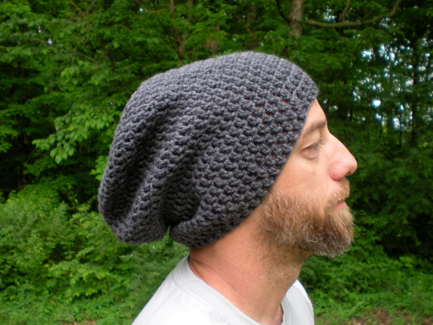 Men\'s Perfect Slouch- Unisex, charcoal, slouchy beanie, crochet ...