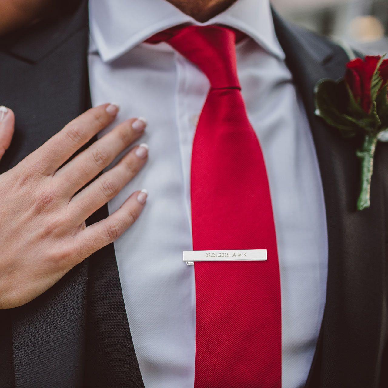 Custom Tie Bar Red Gift Tie clip Red Tie Bar Groomsmen Gift Custom Tie Clip Personalized Tie Bar Red Tie Clip Red Wedding Tie Bar