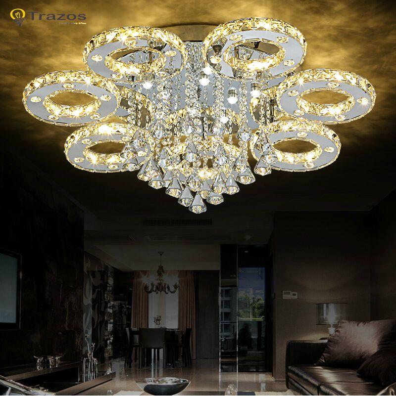 Moderna Crystal Led luces de techo sala de estar luminaria teto - lamparas de techo modernas