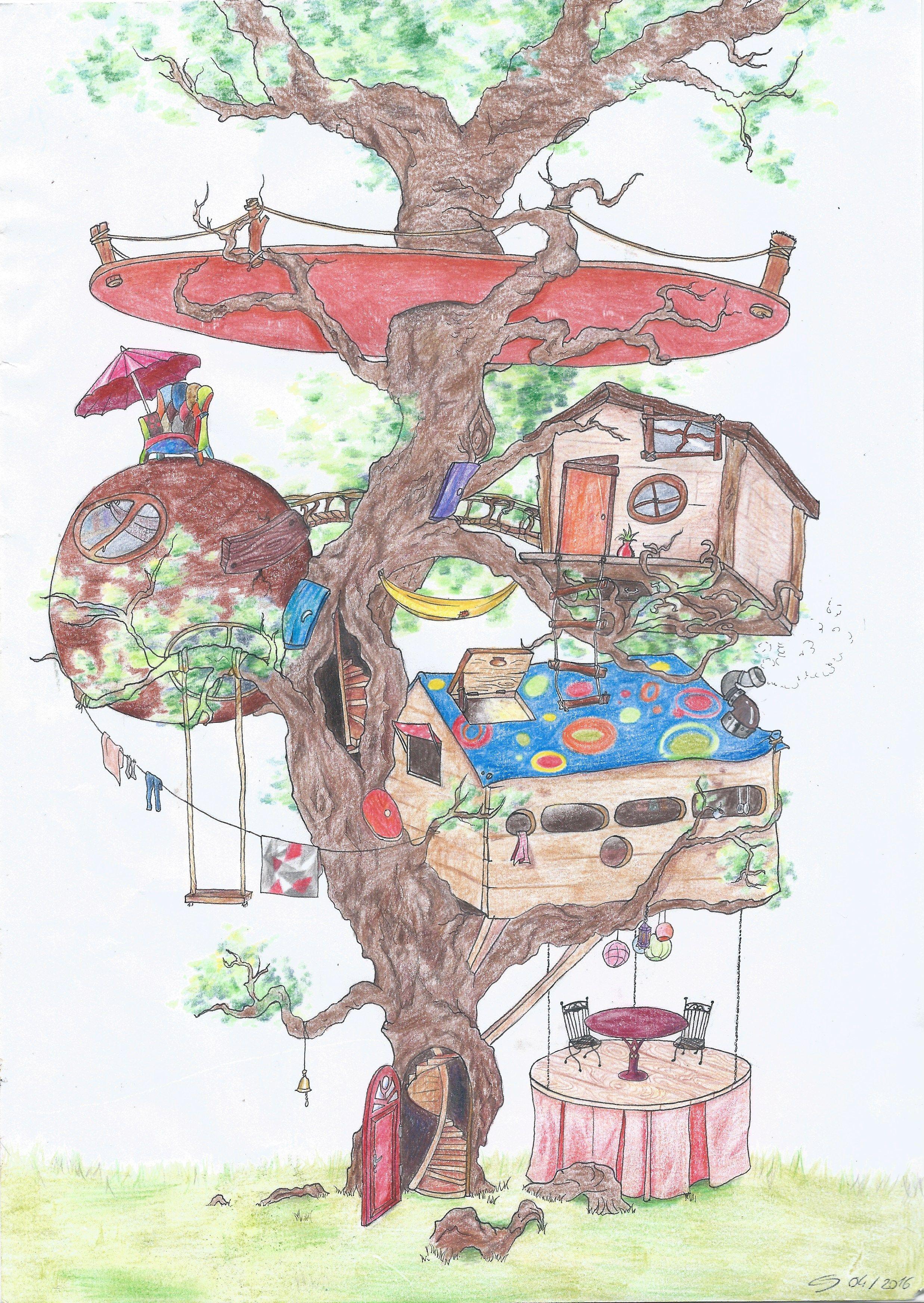 Maison dessin · dessins · une cabane imaginaire dans laquelle jadorerais habiter arbre cabane