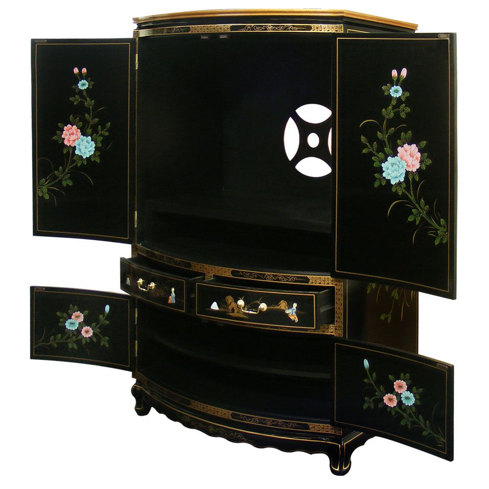 Black Lacquer Mother of Pearl TV Armoire | Tv armoire, Armoires ...