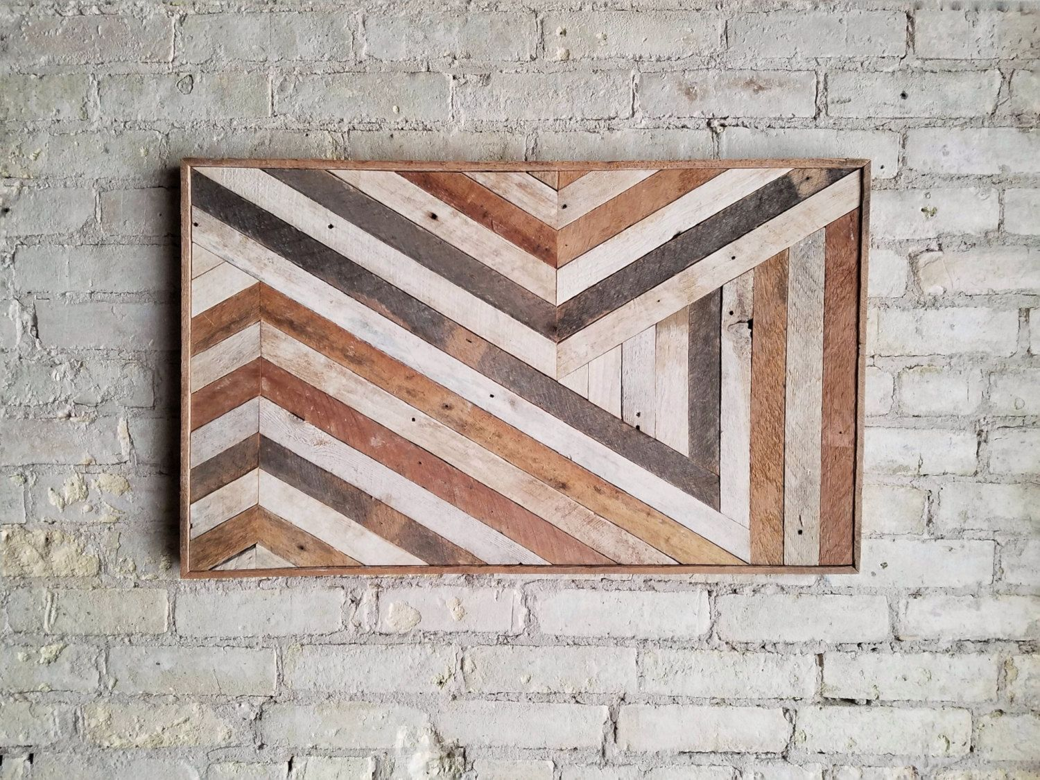 Reclaimed wood wall art wall decor abstract chevron geometric