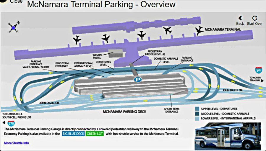 Detroit Airport Parking MapMcNamara Terminal Detroit Pinterest