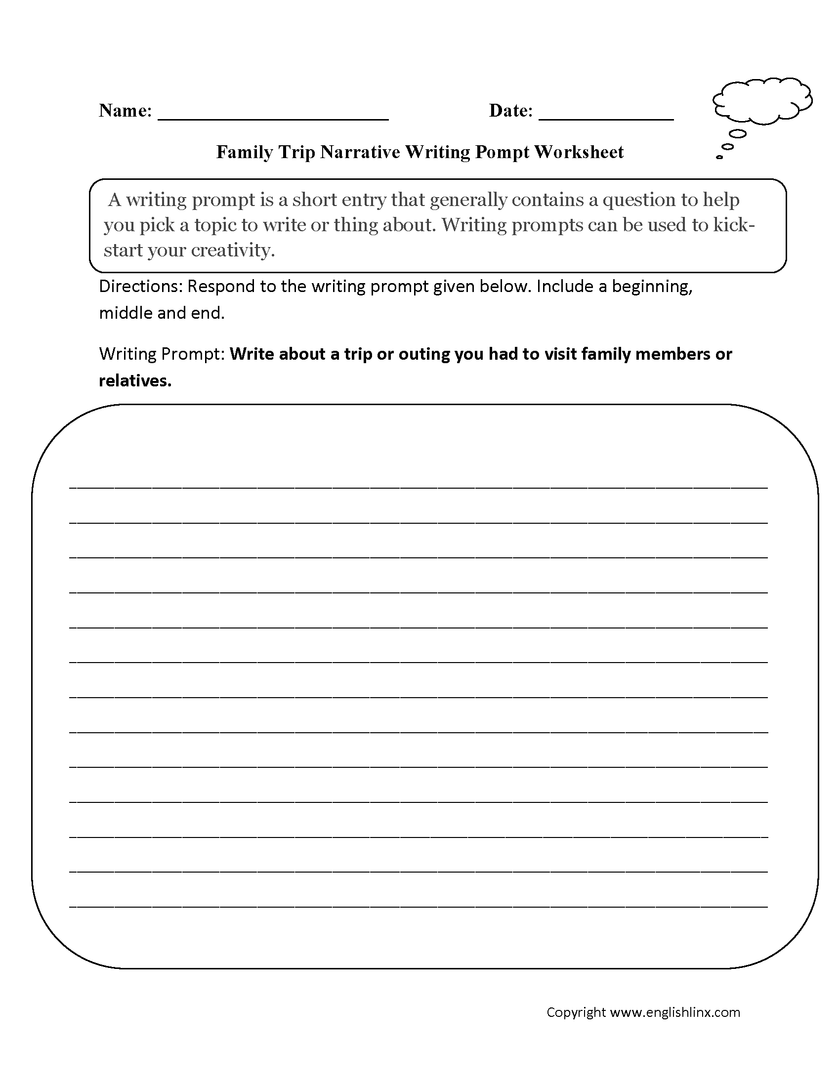 Family Narrative Writing Prompt Worksheet