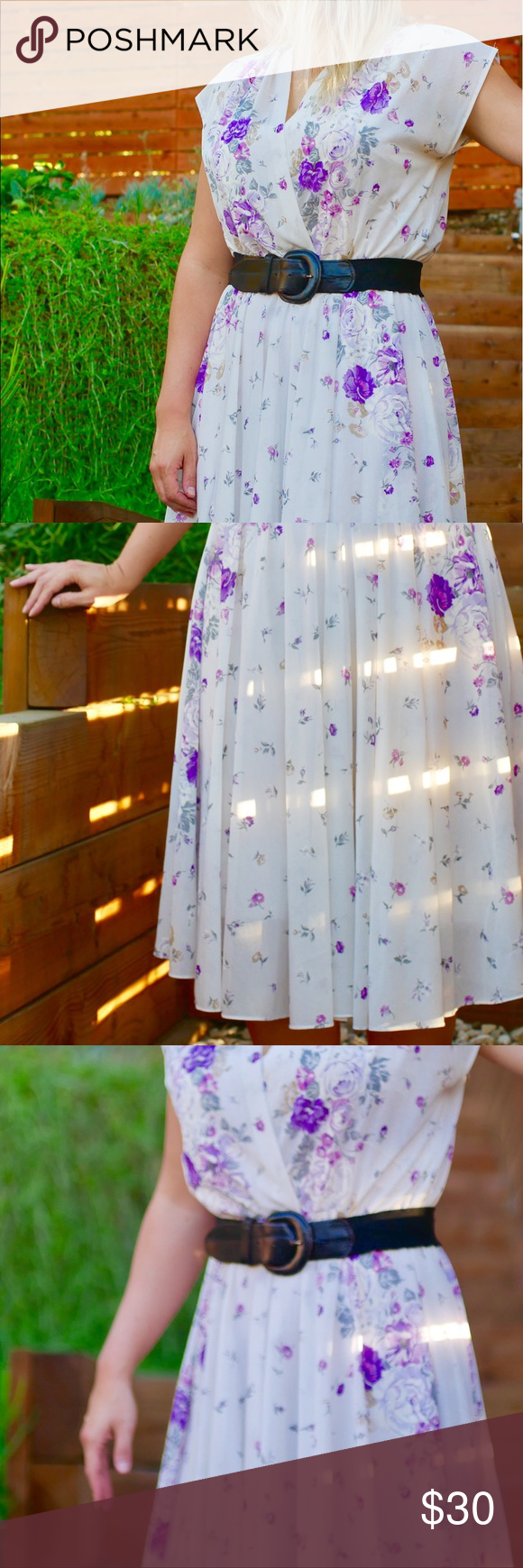 Vintage White Sheer Dress With Purple Flowers My Posh Closet