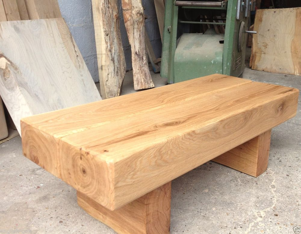 New Oak Coffee Table Solid French Oak Beam Fantastic Custom Made Chunky Rustic Hand Crafted Www Daddyoaker Co Uk Stol