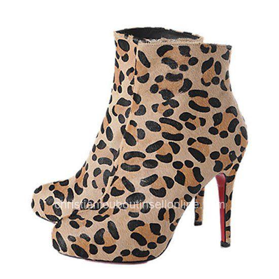 Christian Louboutin Alta Ariella Talon Leopard Ankle 120mm Heel Booties