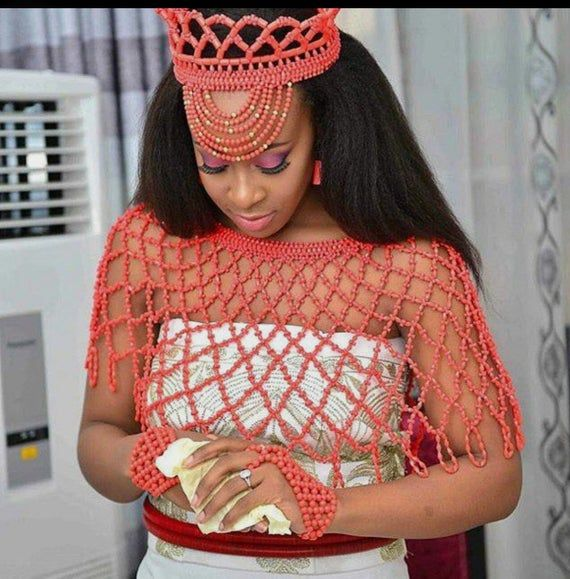 Coral bead crown, 2 beaded hand gloves and cape, t
