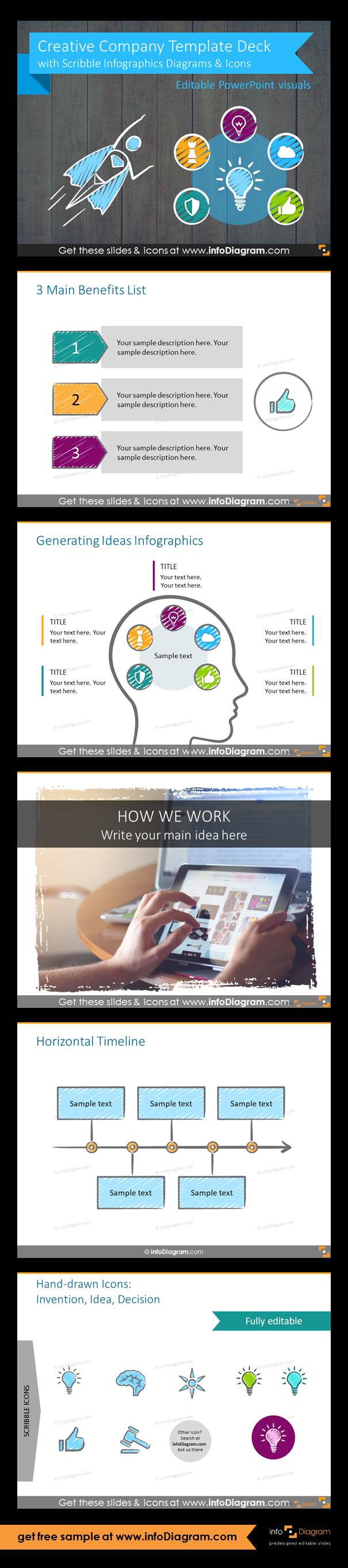 creative company presentation deck scribble pptx template best
