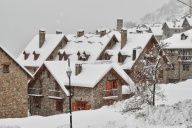 Snowing in Taull, Catalonia, Spain