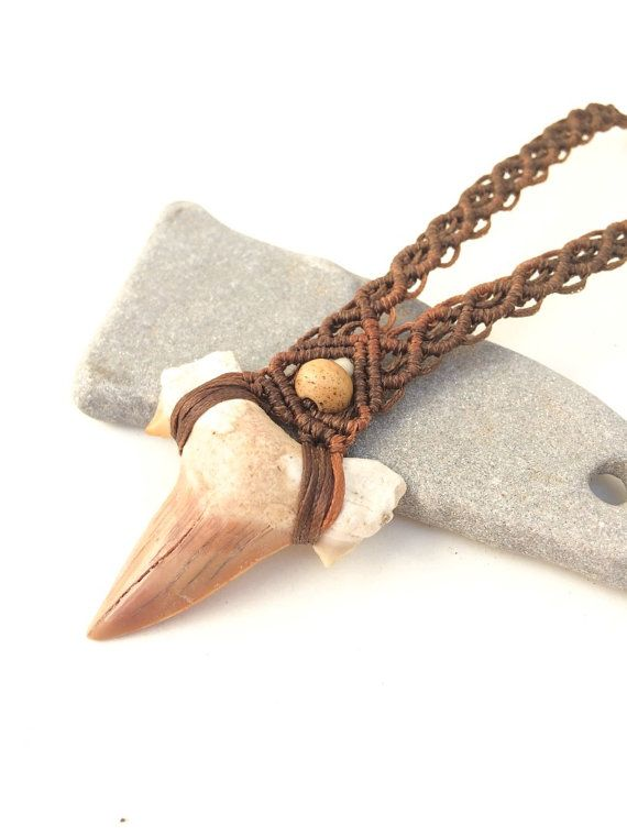 Men Shark Tooth Teeth Pendant Necklace Wax Cord Rope String Chain Jewelry Charm