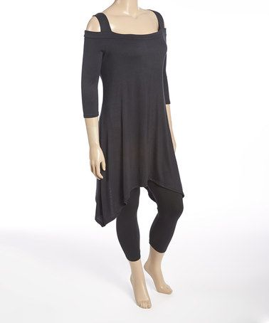 Look at this #zulilyfind! Black Cutout Sidetail Tunic - Plus #zulilyfinds