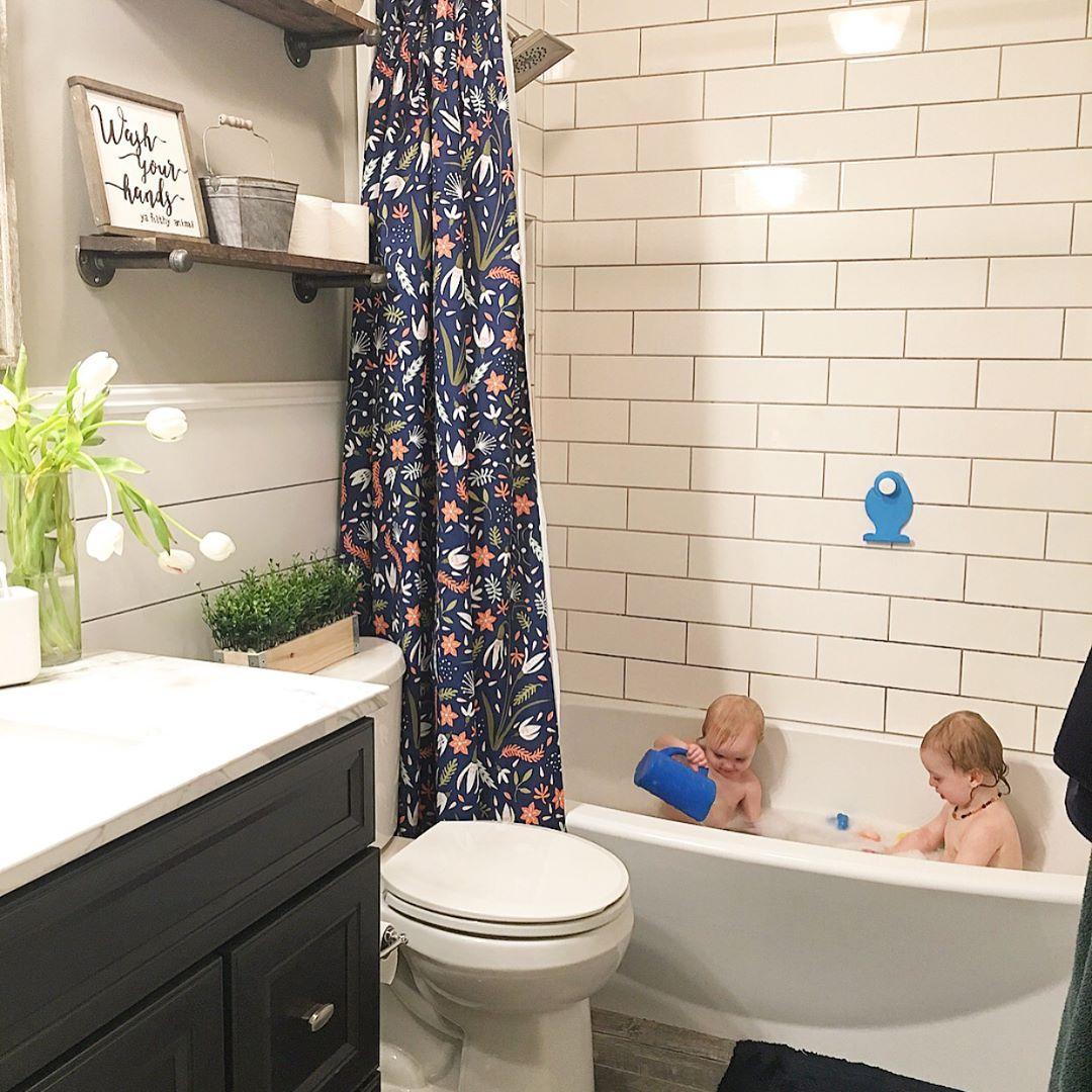 Bathroom Remodel Subway Tile Shiplap Dark Vanity Navy Blue
