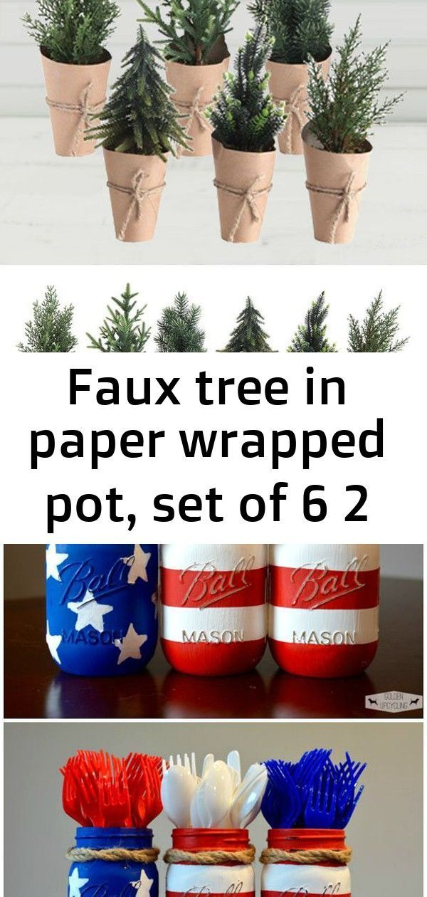 Faux tree in paper wrapped pot, set of 6 2 #labordayfoodideas Faux Tree In Paper Wrapped Pot, Set of 6 Tons of Patriotic Party Ideas! Crafts, DIY Decorations, fun food treats and Recipes. Perfect for Memorial Day, Fourth of July and Labor day fun or summer fun - www.kidfriendlythingstodo.com Use bubble wrap for floating flowers in this DIY decoration idea! #labordayfoodideas
