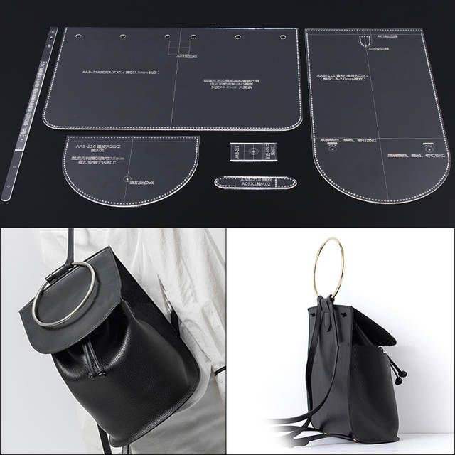 Bayan omuzdan askili çanta sırt çantası tasarım desen modeli kalıp DIY manuel deri baskı akrilik akrilik plaka şablonu 18x25x13.5cm #bagsdesigner