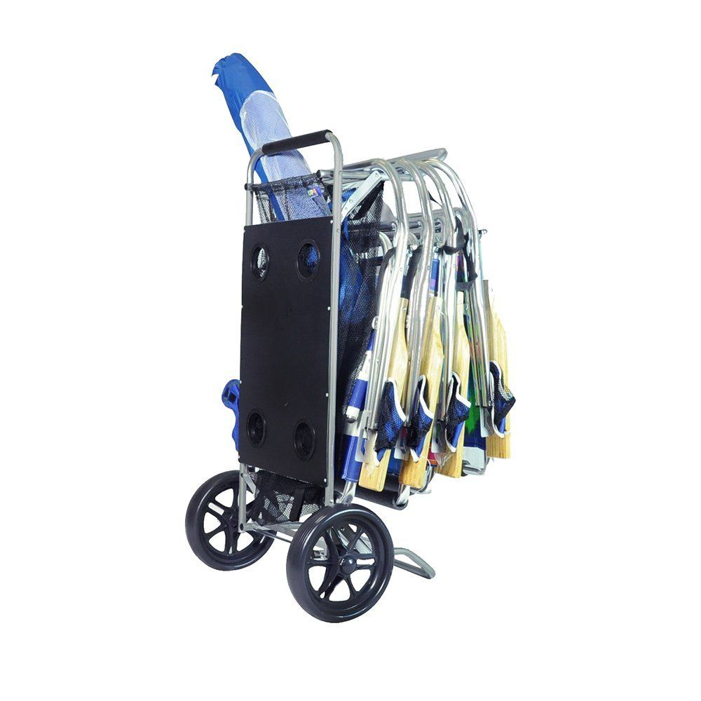 Beach Cargo Table Cart With Drink Holders And Mesh Storage