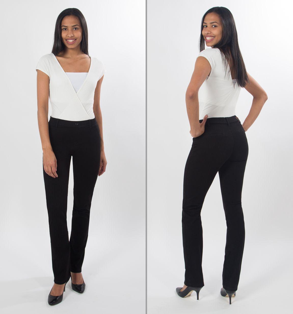 Straight Leg Dress Pant Yoga Jeans Black Womens Clothing Websites Fashion Clothes Women Fashion [ 1235 x 1150 Pixel ]