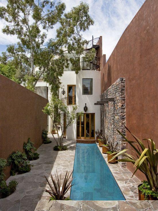 Beautiful Stone Work U0026 Lap Pool: Creative Design Work For A Narrow Space. /