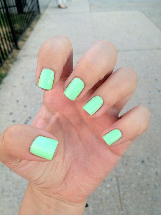 45 Short Square Acrylic Nail Designs Awimina Blog Green Nails Mint Green Nails Mint Nails
