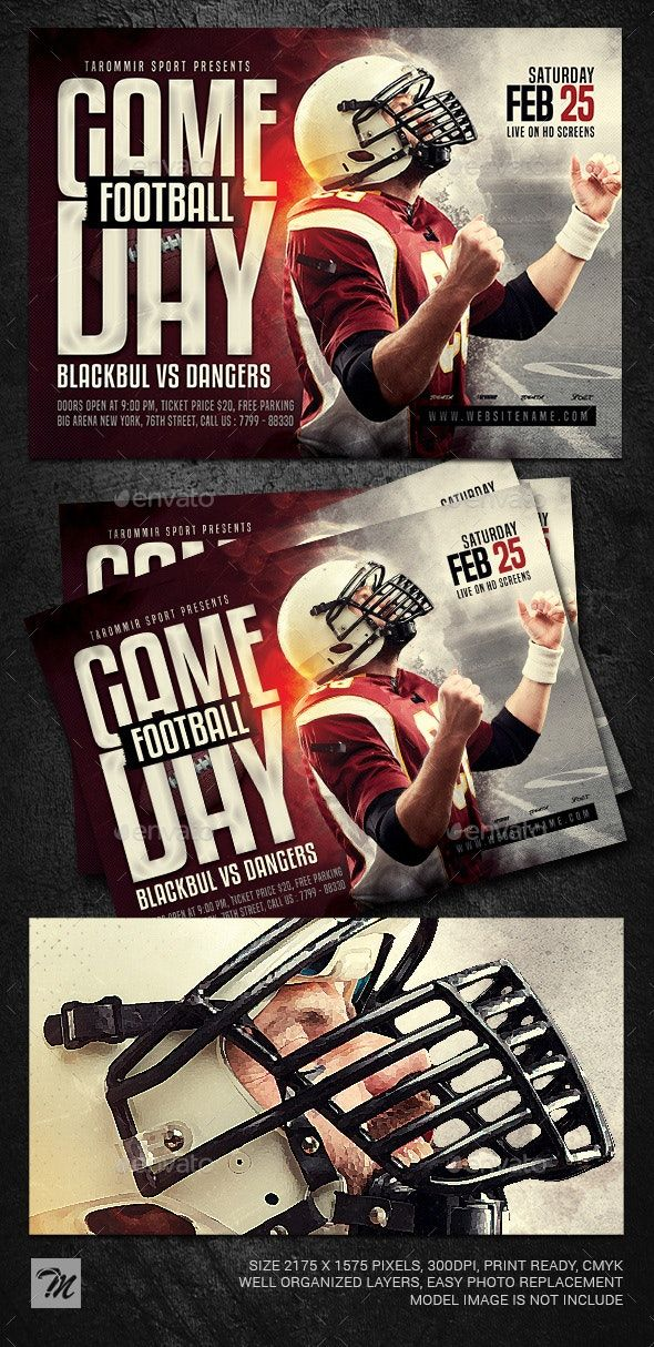 Game Day Football Flyer AD Day, AD, Game, Flyer,