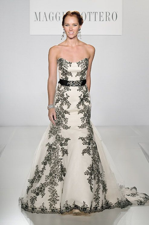 Beautiful Black Lace Embroidered On This Maggie Sottero Wedding Dress