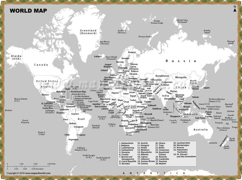 Black And White World Map With Country Names Is A Product Which: Black And White Maps Of The World At Infoasik.co