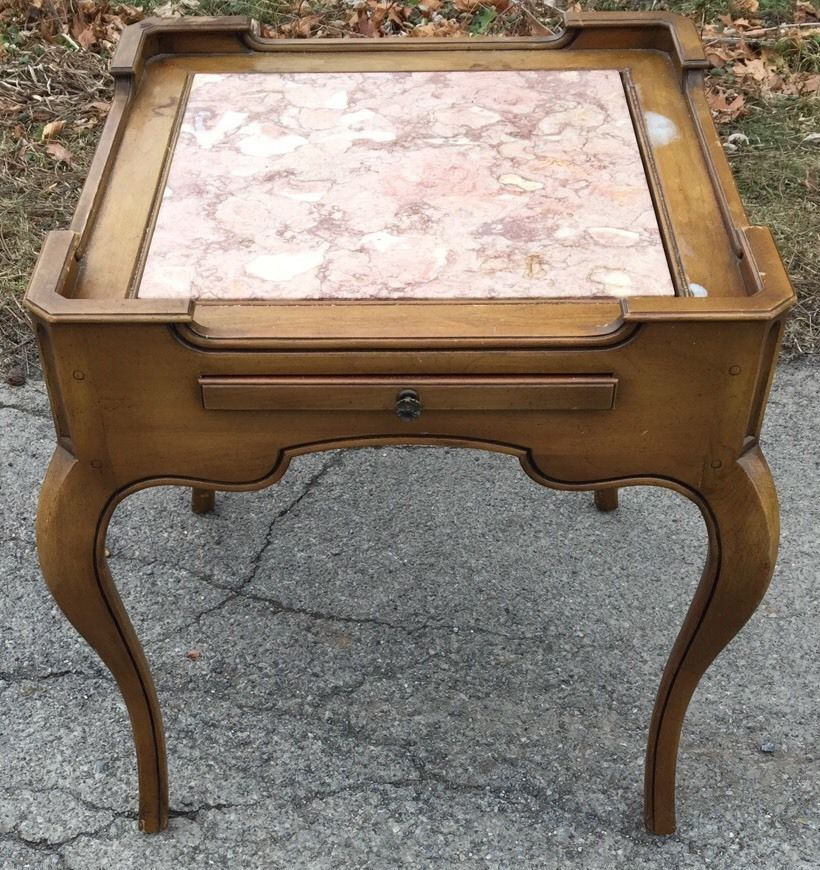 Weiman Heirloom Tables End Table with Pink Salmon Marble Insert 694-2435  #FrenchProvincial #Weiman - Weiman Heirloom Tables End Table With Pink Salmon Marble Insert 694