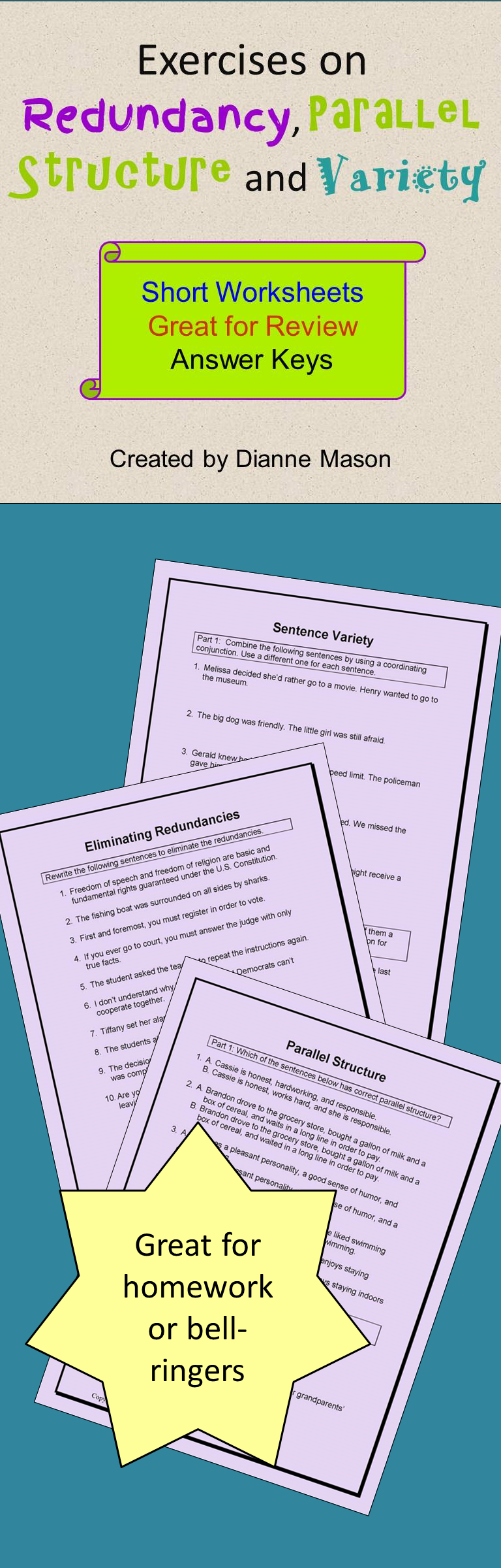 Exercises On Redundancy Parallel Structure And Variety Grammar And Punctuation Sentence Structure Grammar Resources [ 2400 x 768 Pixel ]