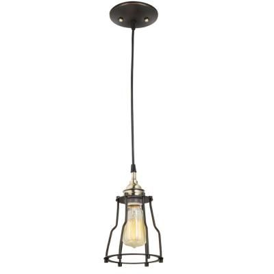 Globe Electric 1 Light Antique Brass Vintage Hanging Caged Pendant 64751 At The Home Depot 29 98 Pendant Light Fixtures Exterior Light Fixtures Light Fixtures